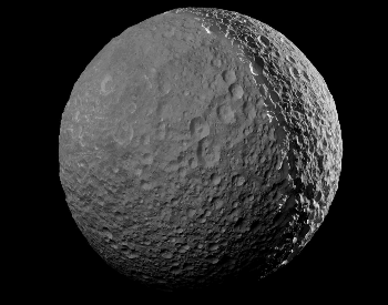 A close-up photo of Saturn's moon Mimas