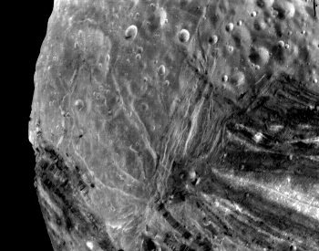 A close-up picture of the craters on Miranda
