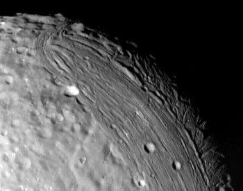 A close-up picture of the surface of Miranda