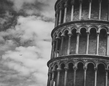 A close-up picture of the Leaning Tower of Pisa