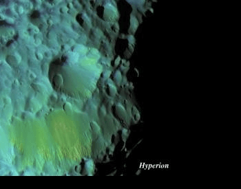 A color-enhanced photo of the moon Hyperion