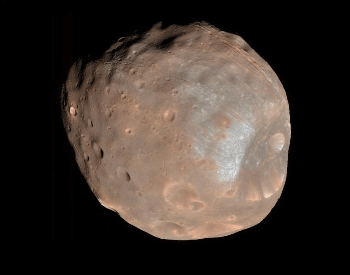 A beautiful color photo of the Mar's moon Phobos.
