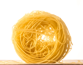 A picture of cooked angel hair pasta
