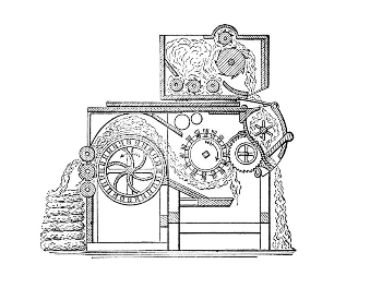 A diagram of a cotton gin