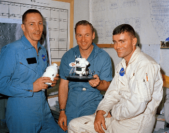 A picture of the Apollo 13 crew a day before the launch