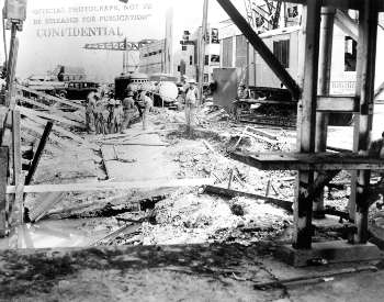 A picture of damage to substain 1010 dock at Pearl Harbor after the attack