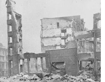 A picture of damaged buildings during the Battle of Stalingrad
