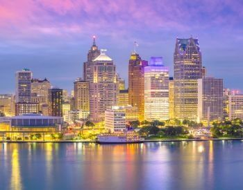 A picture of Detroit, the largest city in Michigan