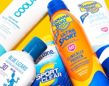A picture of a few different brands of suncreen