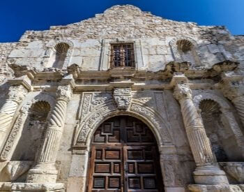 A picture of the Alamo's door