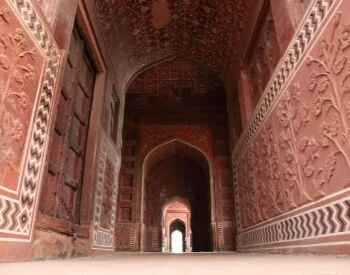 A picture of the doorway to the Taj Mahal
