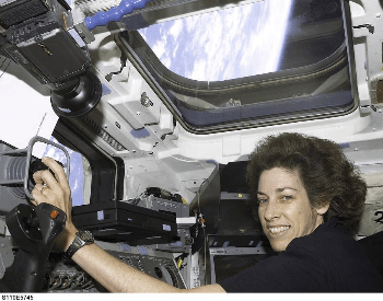 A photo of Ellen Ochoa on the STS-101 Mission on the Space Shuttle Atlantis