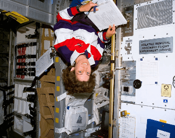 A photo of Ellen Ochoa on the STS-96 Mission on the Space Shuttle Discovery