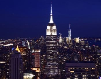 A picture of the Empire State Building at night