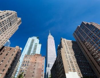 A picture of the Empire State Building from the street