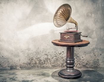 A picture of a phonograph, one of the inventions of Thomas Edison