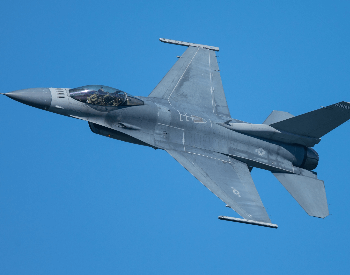 A picture of a military F-16 Fighting Falcon jet