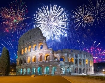 A picture of the Roman Colosseum and fireworks