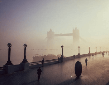 London Bridge Covered in Fog