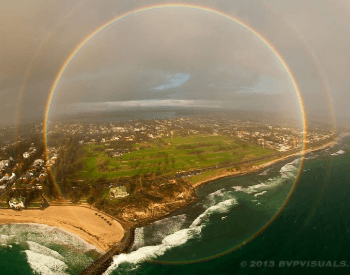 A picture of a full circle rainbow