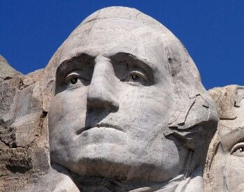 A close-up picture of George Washington on Mount Rushmore
