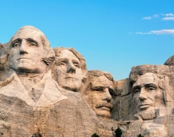 A picture of George Washington on Mount Rushmore in South Dakota