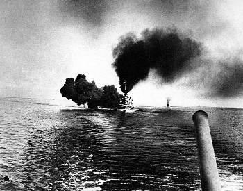 A picture of the German Battleship SMS Schleswig-Holstein at the Battle of Jutland