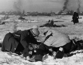 A picture of German troops fighting in the Battle of Moscow