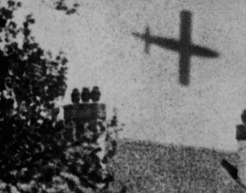 A picture of a German V-1 rocket flying over britain