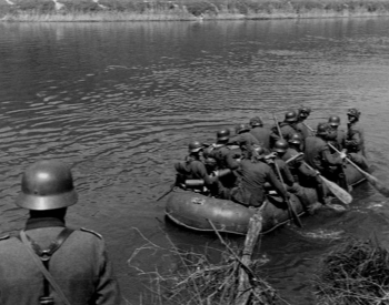 A picture of German soliders crossing the Meuse River