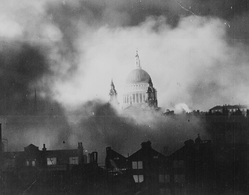 A picture of Britain buring during the great fire raid