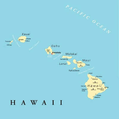A Map of the U.S. state Hawaii