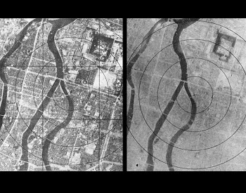 A picture of Hiroshima, showing before and after the first nuclear weapon used in war on 7/6/1945