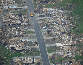 An ariel photo of a row of homes destroyed by the 2011 Joplin Tornado