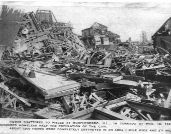 Destroyed houses in Murphysboro, Illinois by the Tri-State Tornado