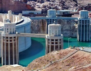 A picture of the Hoover Dam's penstock towers
