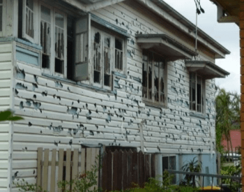A house damaged by hail