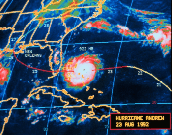 Hurricane Andrew at peak intensity on 08-23-1992
