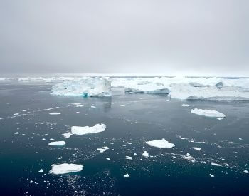 A picture of ice and icebergs floating in the Arctic Ocean