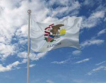 A picture of the flag for the U.S. state of Illinois