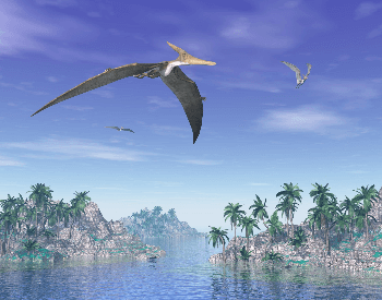 An illustration of a pteranodon flying over big lake