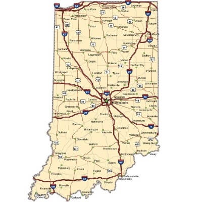 A Map of the U.S. state Indiana