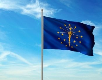 A picture of the flag for the U.S. state of Indiana