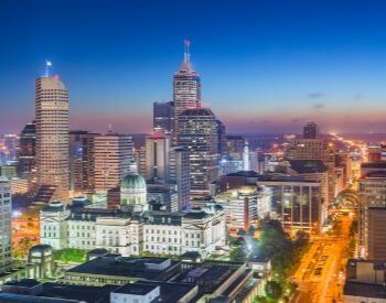 A picture of Indianapolis, the capital city of Indiana