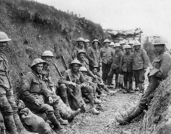 A picture of Irish troops during the Battle of the Somme
