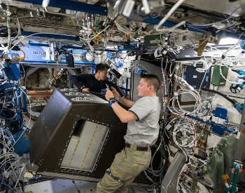 A picture of the Destiny laboratory on the ISS Space Station