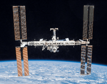 A close-up picture of the front of the International Space Station