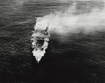 A photo of the Japanese aircraft carrier Hiryu after being attacked