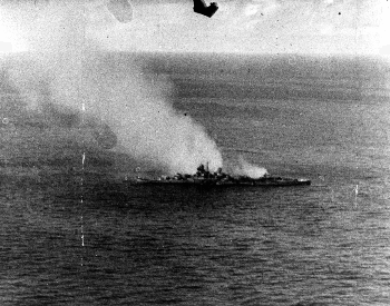 A photo of the Japanese heavy cruiser Mikuma after being attacked