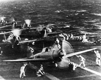 A picture of Japanese naval aircraft taking off from an aircraft deck to attack Pearl Harbor